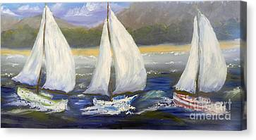 Yachts Sailing Off The Coast Canvas Print