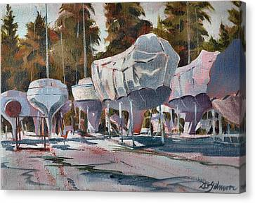 Yachts Winterizing Canvas Print by David Gilmore