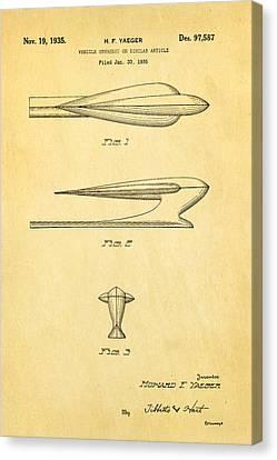 Yaeger Hood Ornament Patent Art 1935 Canvas Print by Ian Monk