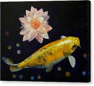 Yamabuki Ogon Koi Canvas Print by Michael Creese