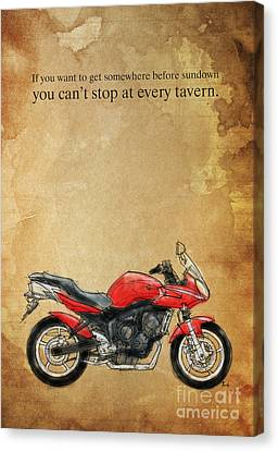 Yamaha Quote And Drawing Canvas Print by Pablo Franchi