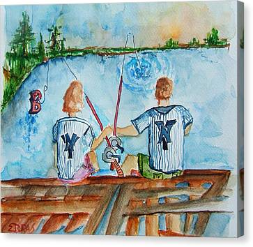 Yankee Fans Day Off Canvas Print by Elaine Duras