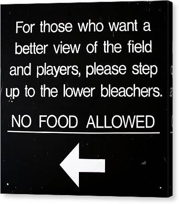 Yankee Stadium Lower Bleachers Sign Canvas Print by Bill Cannon