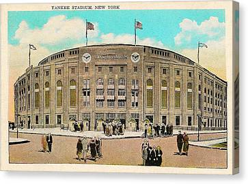 Yankee Stadium Postcard Canvas Print by Bill Cannon