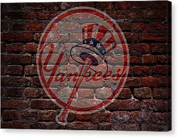 Centerfield Canvas Print - Yankees Baseball Graffiti On Brick  by Movie Poster Prints