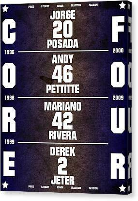Times Square Canvas Print - Yankees Core Four Chart by Anibal Diaz