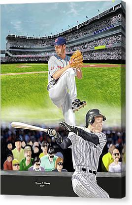 Canvas Print featuring the digital art Yankees Vs Indians by Thomas J Herring