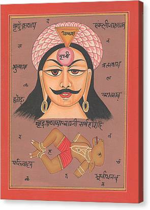 Yantra Mantra Miniature Painting India Earth Artwork Artist Tantric Tantrik Canvas Print by A K Mundhra