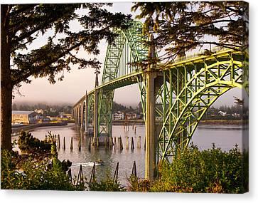 Landscape Of Bridges Canvas Print - Yaquina Bay Bridge Morning Light by Darren  White