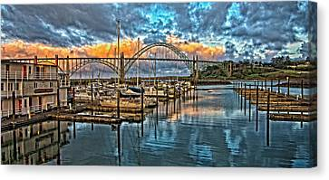 Yaquina Bay Early Morning Canvas Print by Thom Zehrfeld