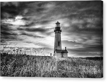 Yaquina Head Lighthouse Black And White Canvas Print by Mark Kiver