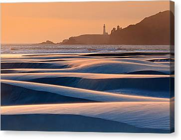 Yaquina Head Swirling Sands Canvas Print by Katherine Gendreau