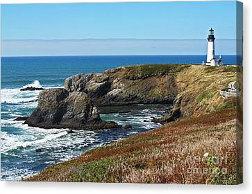 Yaquina Light And Headland Three Canvas Print