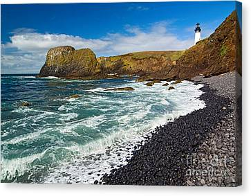Yaquina Lighthouse On Top Of Rocky Beach Canvas Print by Jamie Pham