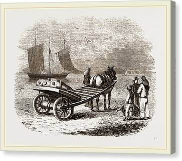 Yarmouth Beach-cart With Fish Canvas Print by Litz Collection