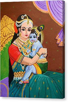 Yashoda And Krishna Canvas Print by Charumathi Raghuraman