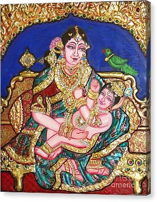 Yashoda Holding Gopala Canvas Print by Jayashree