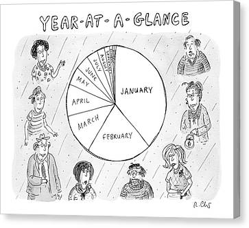January Canvas Print - Year At A Glance--a Pie Chart Of The Months by Roz Chast