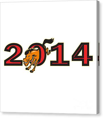 Year Of Horse 2014 Jumping Side Canvas Print by Aloysius Patrimonio