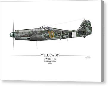 Yellow 10 Focke-wulf Fw190d - White Background Canvas Print by Craig Tinder