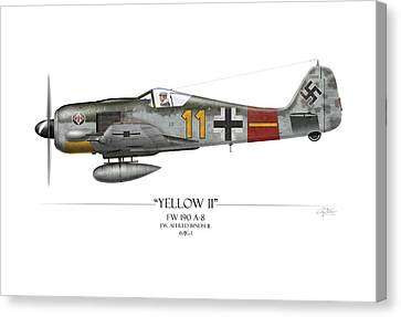 Yellow 11 Focke-wulf Fw 190 - White Background Canvas Print by Craig Tinder