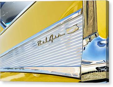 Yellow 1957 Chevrolet Bel Air Tail Fin Canvas Print by Tim Gainey