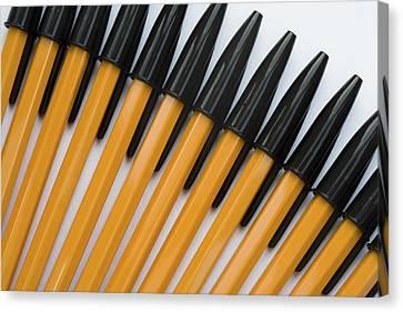 Biro Art Canvas Print - Yellow And Black Biros Wall Art by Natalie Kinnear