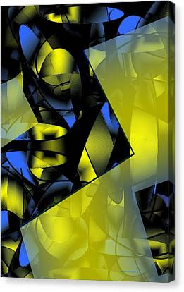 Yellow And Blue Abstract Design Canvas Print by Mario Perez