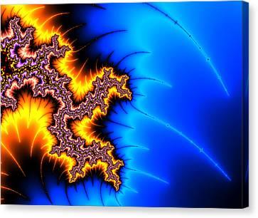 Shock Canvas Print - Yellow And Blue Fractal Artwork by Matthias Hauser