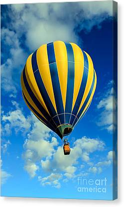 Yellow And Blue Striped Hot Air Balloon Canvas Print by Robert Bales