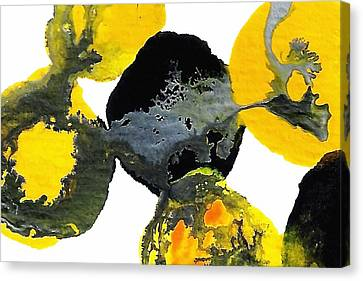 Yellow And Gray Interactions 4 Canvas Print by Amy Vangsgard