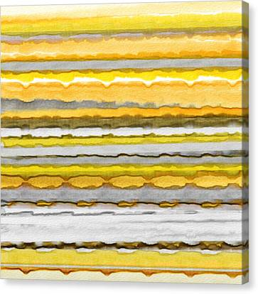 Yellow And Gray Stripes Art Canvas Print