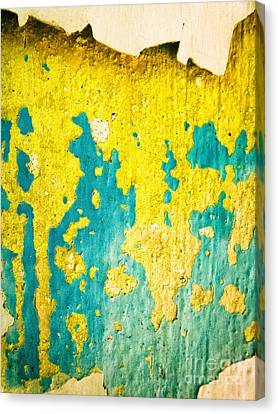 Canvas Print featuring the photograph Yellow And Green Abstract Wall by Silvia Ganora