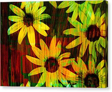 Yellow And Green Daisy Design Canvas Print by Ann Powell