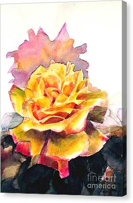 Canvas Print featuring the painting Yellow Rose Fringed In Red by Greta Corens