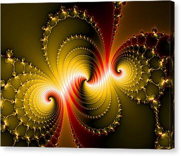 Yellow And Red Metal Fractal Art Canvas Print by Matthias Hauser