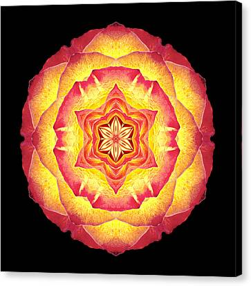 Yellow And Red Rose IIi Flower Mandala Canvas Print by David J Bookbinder