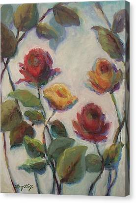 Yellow And Red Roses  Canvas Print
