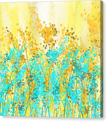 Airy Canvas Print - Yellow And Turquoise Garden by Lourry Legarde