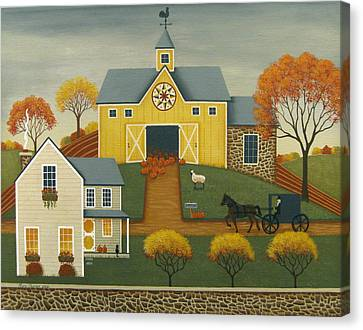Yellow Barn Canvas Print by Mary Charles