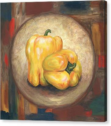 Yellow Bell Peppers Canvas Print by Linda Mears