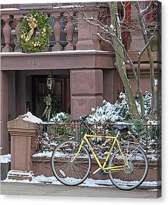 Yellow Bike In Boston Canvas Print by Susan OBrien
