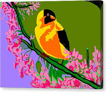Yellow Bird And Flowerss Canvas Print by Anand Swaroop Manchiraju