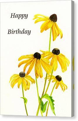Yellow Black Eyed Susans Birthday Card Canvas Print by Sharon Freeman