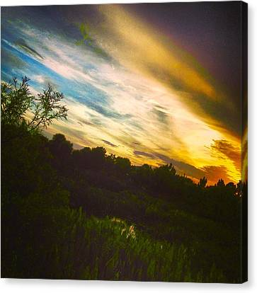 Yellow Blue And Green Canvas Print by K Simmons Luna