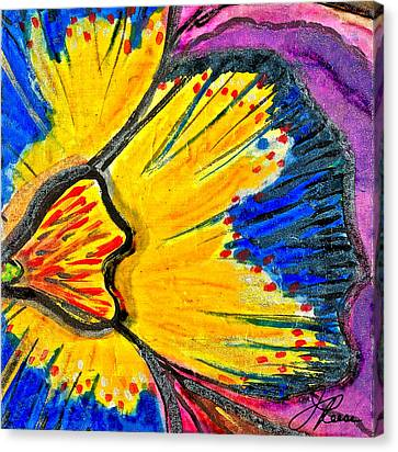 Canvas Print featuring the painting Yellow Blue Flower by Joan Reese