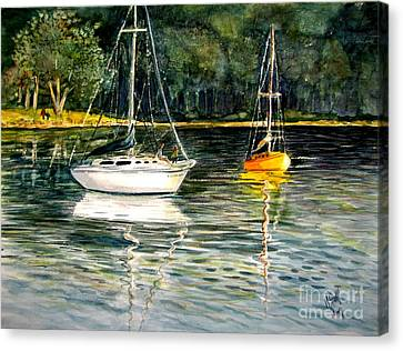 Yellow Boat Sister Bay Canvas Print by Marilyn Smith