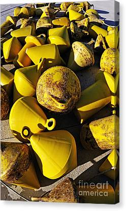 Yellow Buoy At Quay Canvas Print by Sami Sarkis