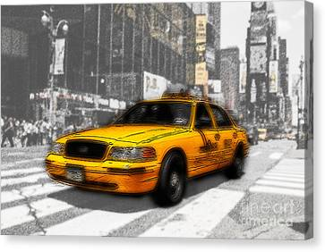 Yellow Cab At The Times Square -comic Canvas Print by Hannes Cmarits