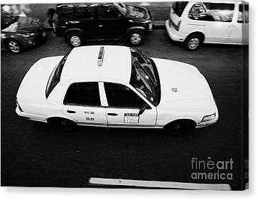 Yellow Cab From Above On Street Taxi New York City Canvas Print